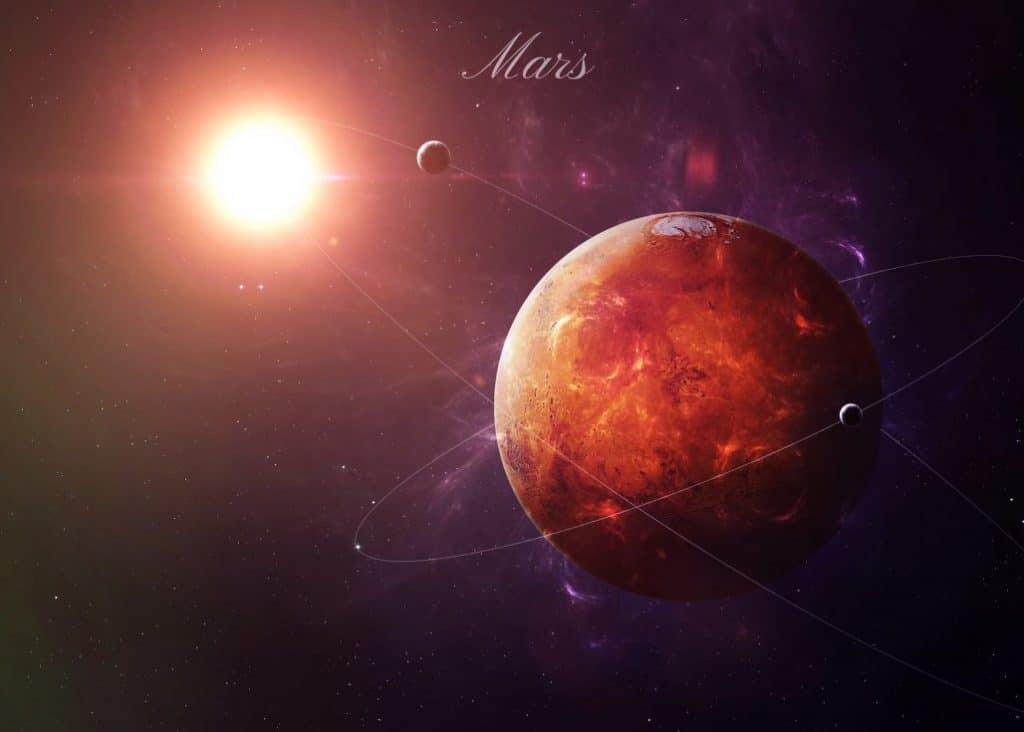 mars in night sky