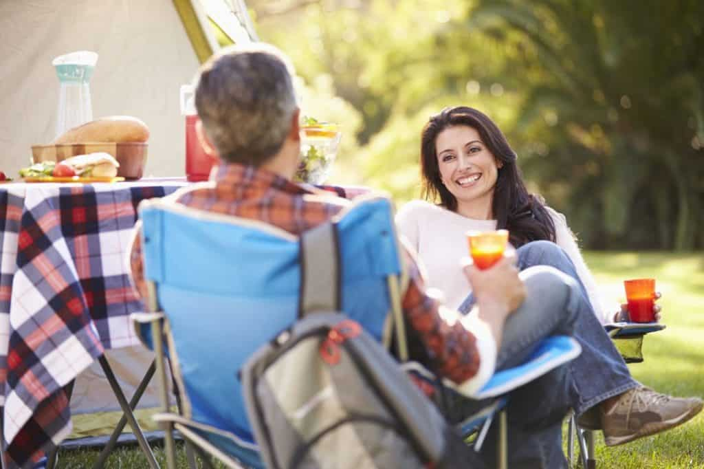 woman relaxing on a camping chair