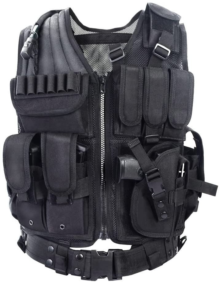 YAKEDA Tactical Vest Outdoor Ultra-Light Breathable Combat Training Vest Adjustable for Adults