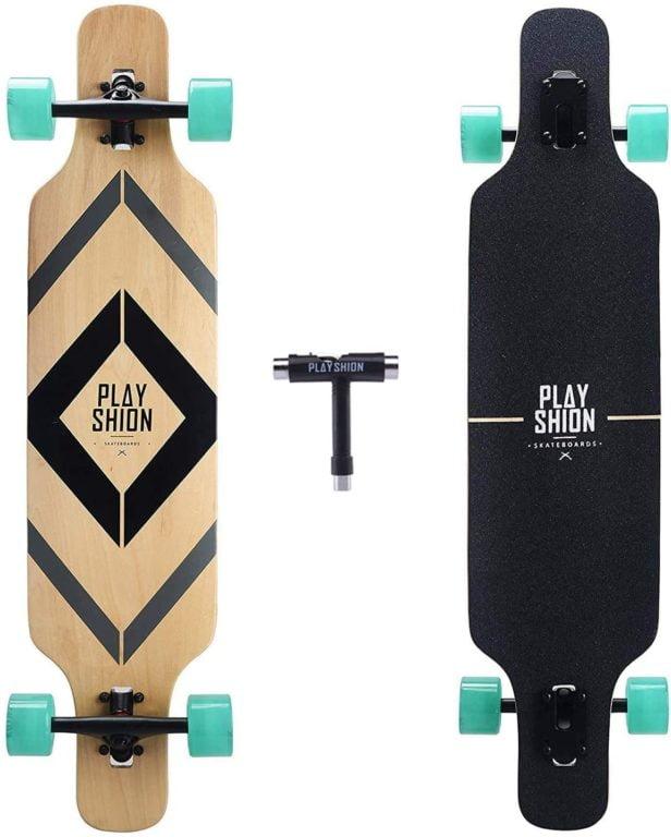 Playshion Drop Through Longboard Skateboard
