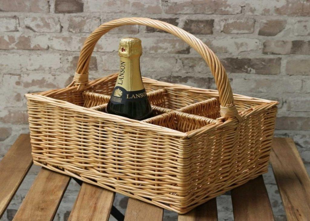 Rattan Basket Wine Rack System